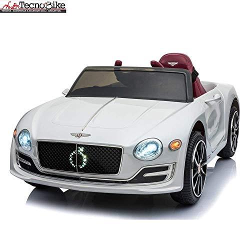 Tecnobike Shop Auto Macchina Elettrica per Bambini Bentley Exp 12 6V Doppia velocità Fari Funzionanti Ingresso USB SD Aux MP3 Luci Suoni e Telecomando Originale Licenza,o (Bianco)