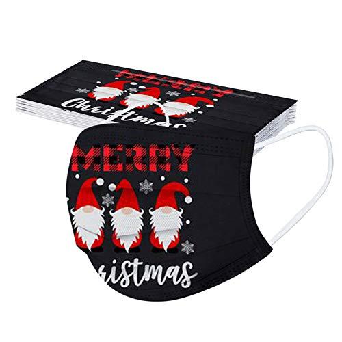 Hanomes 10 Stück Einmal Mundschutz Erwachsene Mundschutz mit Wichtel Motiv Mund Nasenschutz 3 Lagig Weihnachten Atmungsaktiv Schneeflocke Bandana Halstuch