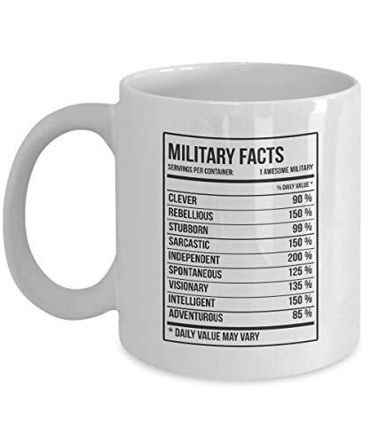Taza de café militar Dason - Regalos militares Etiqueta de información nutricional militar Taza de cerámica - Regalos de mordaza para mujeres, hombres o amigos - Navidad, idea de regalo de cumpleaños