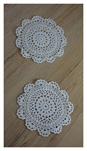 Set di 2 tovagliette all'uncinetto, in pizzo, realizzate a mano, vintage, 100% cotone, 10 cm, rotonde, colore: bianco