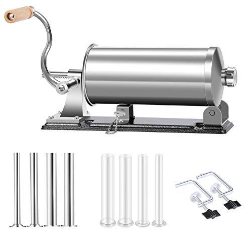 MASTER FENG Wurstfüller, Horizontale Küche Aluminium Wurstfüllmaschine mit Saugfuß Verpackt 8 Größe Professionelle Wurstfüllrohre für Hausgemachte (6LBS / 3.5 L (Horizontal))