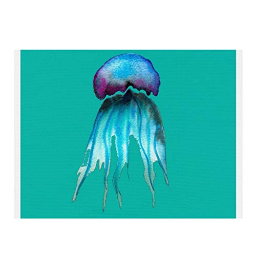 Alfombrilla de secado de microfibra para cocina, medusas de acuarela colorida moderna acuática súper absorbente de secado rápido para platos de cocina de 15.7 x 11.8 pulgadas