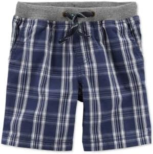 Carter's Boys' Plaid Cotton Pull On Shorts, Navy