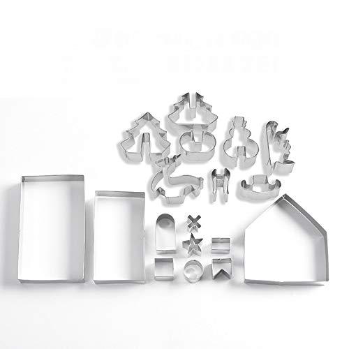 A-XINTONG - Juego de cortadores de galletas de casa de jengibre de acero inoxidable 3D para Navidad, incluye árbol de Navidad, muñeco de nieve, reno, formas de trineo y caja de...