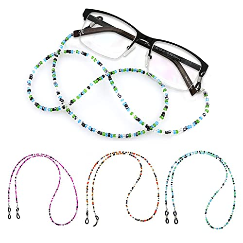 KOOKZ 3 cadenas de gafas con cuentas, cadenas y cordones antideslizantes para mujer, cordón para gafas, correa para gafas, collar, cadena de gafas y cordones para cuello
