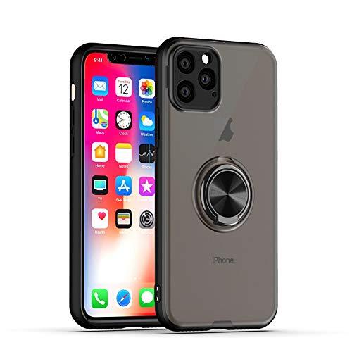 GOBY Coque iPhone 11 Pro Max, Slim Fit TPU avec Support de BagueSilicone Gel Anti Mince Placage Bumper Housse Lustre Métal 360° Bague Support Téléphone Voiture Etui (NOIR)