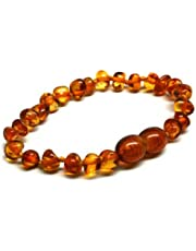 J's Amber - Braccialetto/cavigliera in 100% ambra baltica originale, misure 11cm, 12 cm, 13 cm, 14 cm, 15 cm, 16 cm, 17 cm, 18 cm, color miele - Soddisfatti o rimborsati.