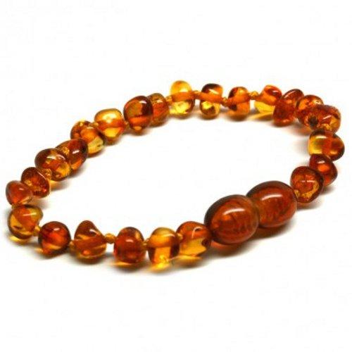 J's Amber - Braccialetto/cavigliera in 100% ambra baltica originale, misure 11cm, 12 cm, 13 cm, 14 cm, 15 cm, 16 cm, 17 cm, 18 cm, color miele - Soddisfatti o rimborsati., colore: Cognac, cod. Cognac