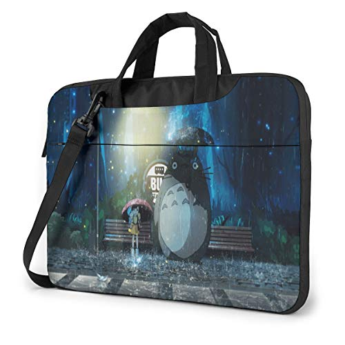 15.6 inch Laptop Sleeve Bag, My Neighbor Totoro Tablet Briefcase Ultra Portable Protective Shoulder Shockproof Laptop Canvas Cover MacBook Air