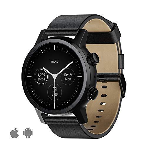 WearOs Smartwatch für Motorola Moto 360 3. Generation, Edelstahl-Gehäuse mit 20 mm Band, ganztägige Batterie, Schwarz