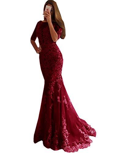 LuckyShe Damen Meerjungfrau Hochzeitskleider mit Ärmeln Brautkleider Rückenfrei Bordeaux Größe 42
