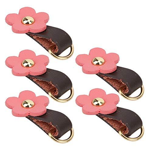 5 stuks rits trekker hoofd, split lederen bloem vorm fixer pull vervanging rits hoofden lederen rits hanger trekker voor bagage handtassen tassen(Roze)