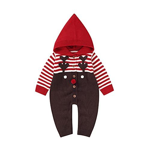 Navidad Bebé Alce De Punto Con Capucha Mameluco De Invierno Cálido Suéter Mono Ropa De Navidad, rosso, 0-3 Meses