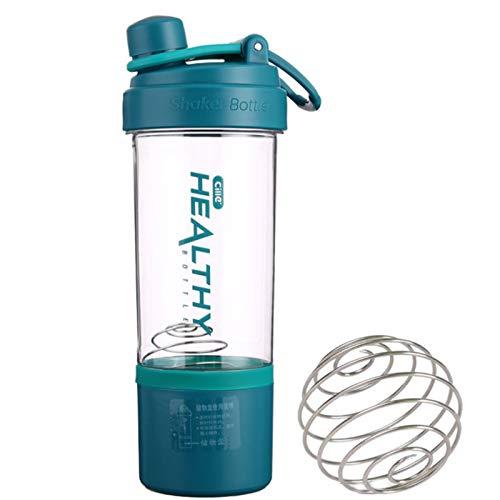 Copa coctelera de proteínas de 800 ml, botella mezcladora con bola batidora, coctelera dietética con caja de proteína giratoria y bloqueada Almacenamiento para ejercicios de gimnasio Suplementos