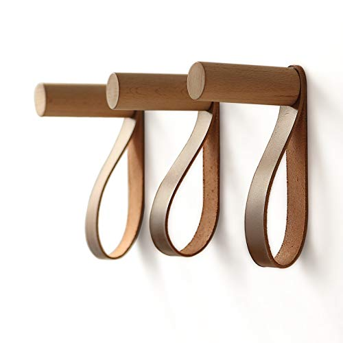 XAOMLP Wooden Hooks with Leather for Wall Mounted Single Hangers Handmade Craft for Coats Hat Bags Rack 3pcs Oak