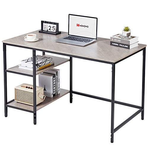 "WOHOMO Computer Desk with Shelves 47"" Home Office Desk with Storage Bookshelves Study Writing Table Modern Simple Style Workstation, Gray Marble"