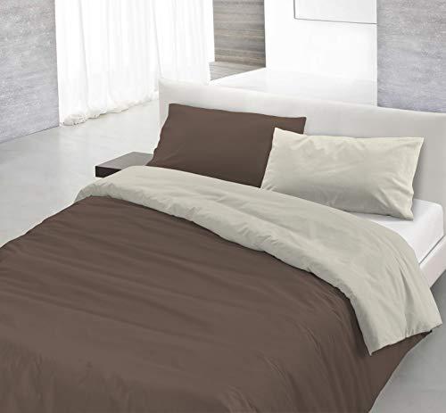 Italian Bed Linen Natural Color Parure Copripiumino con Sacco E Federa, 100% Cotone, Marrone/Panna, Singolo, 150 x 200 cm, 2 unità