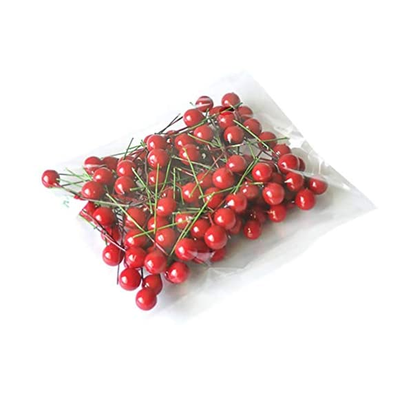 IMIKEYA 150pcs Berry Picks Artificial Berry Stems Artificial Red Holly Berry Picks Christmas Fake Fruit Berry Stem for DIY Christmas Garland Holiday Wreath Party Ornaments (Red)