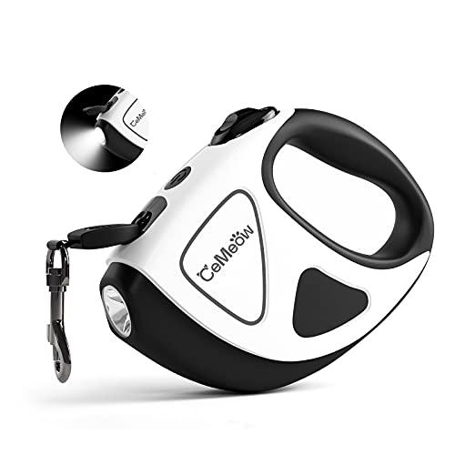 CeMeow Hunde Hundeleine Ausziehbar 5M Hundeleinen mit Taschenlampe, EIN Knopf für Bremse und Lock Sicherheitssystem, Ergonomischer Handgriff für Hunde in Allen Größen