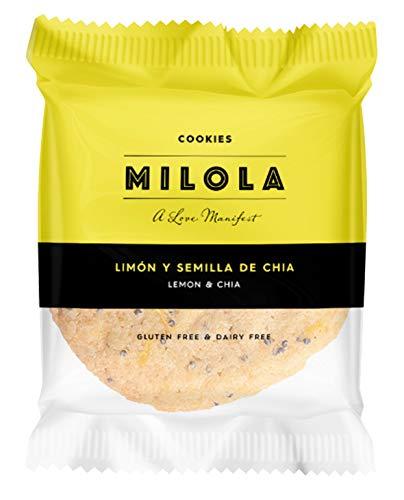 MILOLA Galletas Gluten Free. Pack 12 unidades - Sin Gluten, Sin Lácteos, Sin Gluten, Sin Aceite de Palma (LEMON AND CHIA)