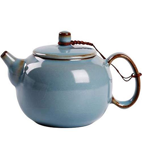 Teapots Single Pot Tea Ceramic Teapot Maker for Bulk Tea and Tea Bags for Tea Lover (Color : Blue, Size : 225ml)