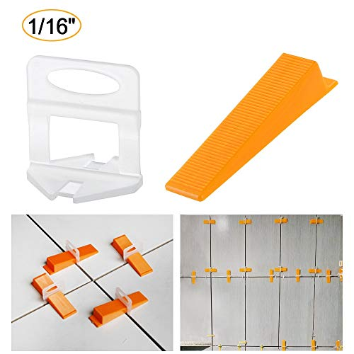 Tile Leveling System 1/16 Inch (2mm) Tile Leveler Spacers - 300 Spacers/Clips And 100 Reusable Wedges for DIY Lippage-free Tile Installation
