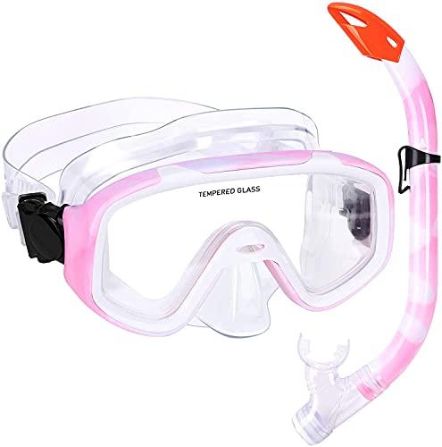 Kuyou Juego de esnórquel para niños, para niños, antiempañamiento, resistente al impacto, vidrio templado panorámico con tubo de respiración fácil para jóvenes y niñas, niños (rosa 1)