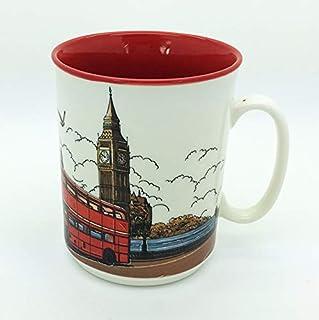Sterling Product SP144A Premium Quality Embossed Printed 300 ml Coffee Mug, Ceramic, 300 milliliters