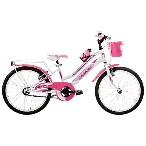 Casadei Bicicletta MTB LY20SC per Bambina, 20' Acciaio Senza Cambio, 1V, Bimba Bike (Bianco Rosa)
