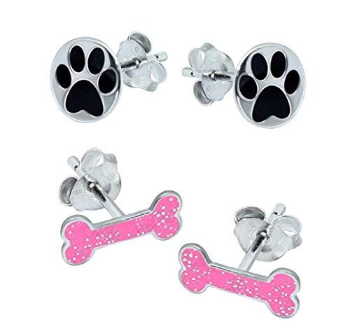 Katy Craig, pendientes de plata de ley 925 con hueso de perro y huella de huellas – Juego de regalo para amantes de los perros