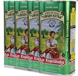 LA ESPAÑOLA - Pack de 4 Latas de 5 Litros de Aceite de Oliva Virgen Extra Extraído en Frío, Procedente de Jaén, Ideal como Aderezo o para Realzar el Sabor de tus Comidas