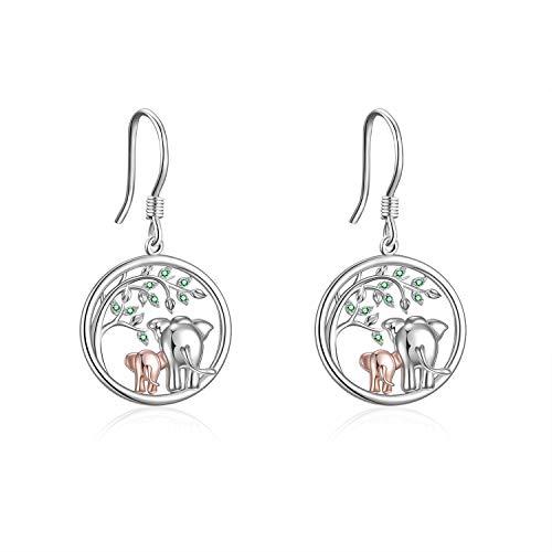 YFN Elefant Ohrringe Geschenke für Frauen Sterling Silber Baum des Lebens Elefant Baumeln Ohrringe für Mädchen Hypoallergen (elefanten ohrringe)