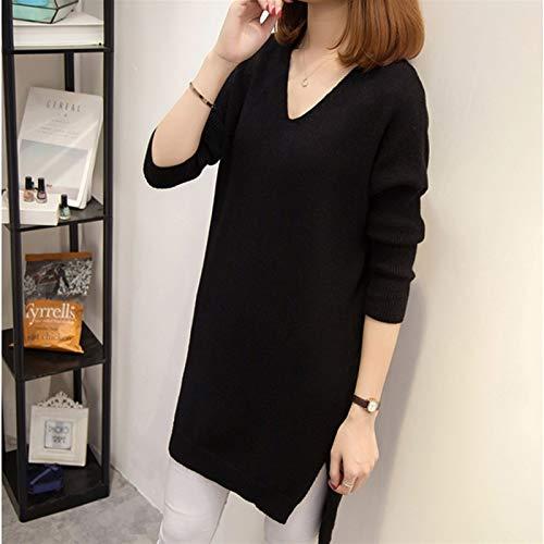 DYXYH Mode Frauen Pullover Pullover Kleid Herbst Winter Lose V-Ausschnitt Gestrickte Lange Pullover Solide Lässige Weibliche Pullover (Color : Black, Size : XL-Length -72CM)