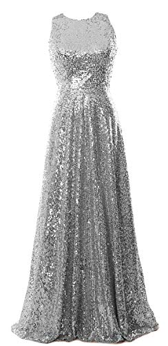 MACloth Women Sequin Formal Evening Gown Sleeveless Long Mother of Bride Dress (50, Silver)