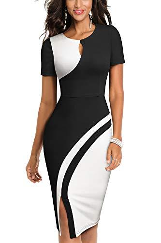 HOMEYEE Vestido de Negocios elástico de Color Vintage con Contraste y Hueco para Mujer B571 (S, Negro + Blanco)