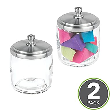 mDesign Bathroom Vanity Glass Storage Organizer Canister Jars for Q tips, Cotton Swabs, Cotton Rounds, Cotton Balls, Makeup Sponges, Bath Salts - Pack of 2, Short, Clear/Brushed