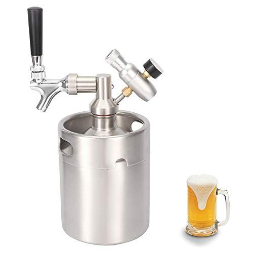 Sistema de mini barril de cerveza a presión: grifo de cultivo de acero inoxidable 2L, kit dispensador de mini barril portátil, con un medidor de presión de nivel 1 para cerveza artesanal Homebrew