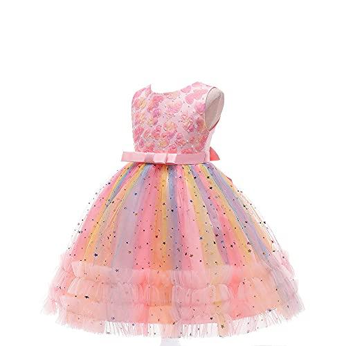 Vestido de encaje bordado de encaje para niñas y niñas, vestido formal de princesa para 3 a 11 años