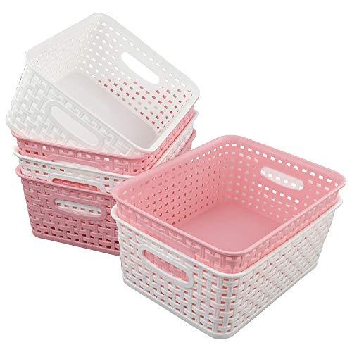 Vareone Haushaltskörbe Plastikkorb Aufbewahrungskörbe Körbchen Korb aus Kunststoff, 3 x Rosa und 3 x Weiß, 6 Packung