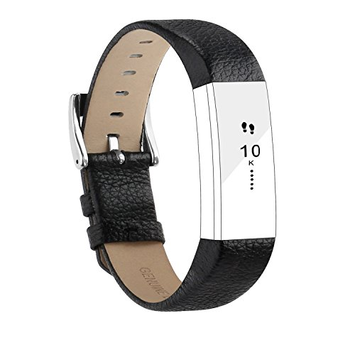 POY Replacement Bands Compatible for Fitbit Alta and Fitbit Alta HR, Genuine Leather Wristbands, Black