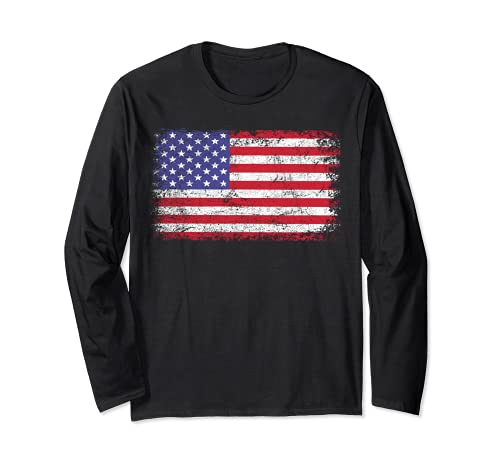 Camiseta de la bandera americana: patriótico de los E.E.U.U. para los hombres, mujeres y niños Manga Larga