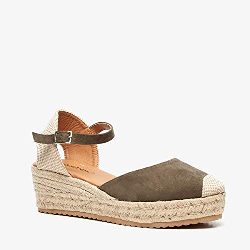 Blue Box dames sleehak espadrilles - Groen