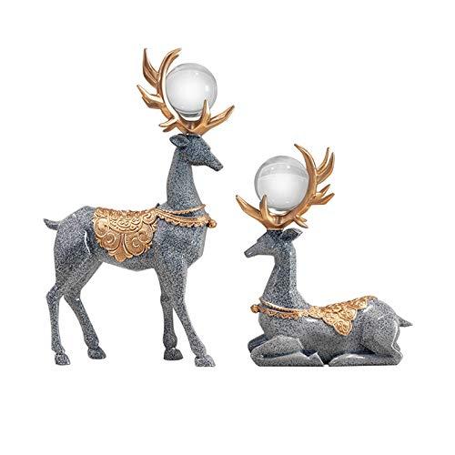 Decoración de escritorio Luz de estilo de lujo decoraciones de ciervos artesanías de hogar sala de estar entrada vino gabinete resina ciervo figurilla decoraciones chino muebles chinos decoración para