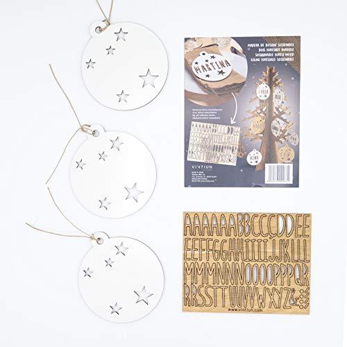 VINTIUN Bolas de Navidad Personalizadas con Nombre, Decoración Navideña Original para Arbol, Mesa, o Invitados (Blanco, Pack 3)