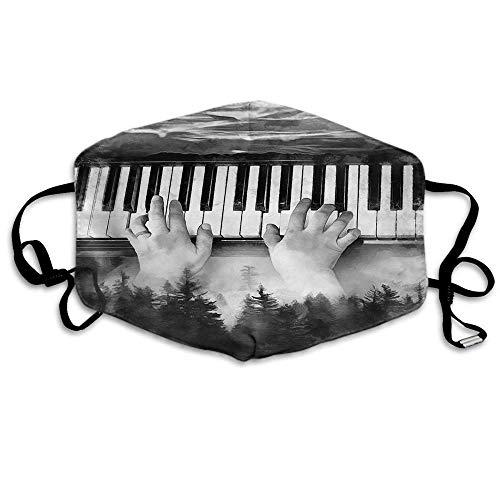 Olieverfschilderij piano monddeken abstracte kunst uitrusting jungle natuur bos zwarte oorlussen gezichtsbescherming mond sjaal