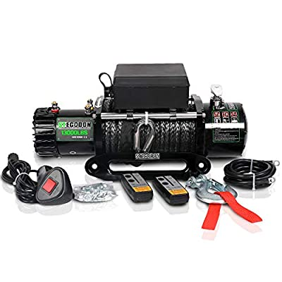 STEGODON 13000 lb. Load Capacity Electric Winch,12V Synthetic Rope Electric Winch with Hawse Fairlead,Waterproof IP67 Winch with Wireless Handheld Remotes and Wired Handle(All Black) (Black-Rope)