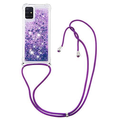 Schutzhülle für Samsung Galaxy A71 (TPU), glitzernd, stoßfest, mit Umhängeband, Violett