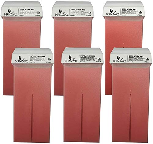 Rullo ceretta- 6 cartucce di cera a caldo a base di Rosa Titanium, 6x 100 ml, per depilazione- Made in Italy