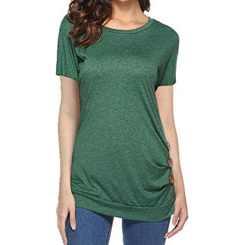 N\P Camiseta de manga corta para mujer con decoración de botones