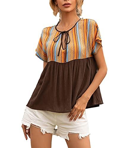 Blusa Mujer Verano Elegante Cuello Redondo Manga Corta Mujer Shirt Estilo Étnico Diseño Empalme Ahueca Cordón Escote Versión Suelta Casual Transpirable Tops Mujer B-Brown XL